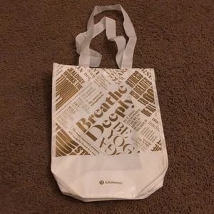 White and Gold Lululemon Bag